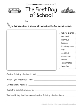 write about your first day at school