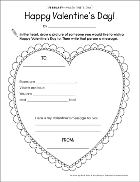 Happy Valentine S Day Draw And Write Prompt Printable Skills Sheets