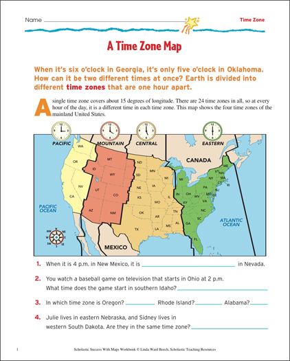 A time zone map map skills printable maps and skills sheets a time zone map map skills gumiabroncs Choice Image