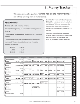 daily math money tracker life skills practice math printable