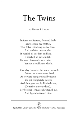 the twins a poem by henry s leigh plot spotlight on literary elements printable texts and. Black Bedroom Furniture Sets. Home Design Ideas