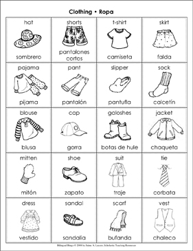 clothing ropa bilingual bingo games printable bingo. Black Bedroom Furniture Sets. Home Design Ideas