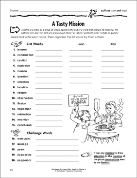 a tasty mission suffixes sion and tion printable skills sheets. Black Bedroom Furniture Sets. Home Design Ideas