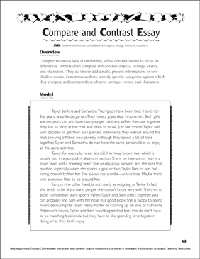 Compare And Contrast Essay  Printable Lesson Plans Ideas And  Compare And Contrast Essay  Printable Lesson Plans Ideas And Skills Sheets How To Write A High School Essay also Business Essay Examples  Pay For Research