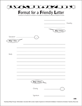 Graphic Organizer Format For A Friendly Letter Printable Skills