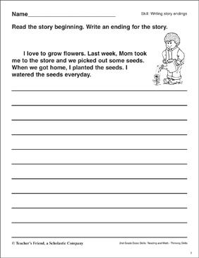 writing story endings planting flowers printable skills sheets. Black Bedroom Furniture Sets. Home Design Ideas