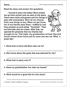 reading comprehension reasoning the best birthday printable skills sheets. Black Bedroom Furniture Sets. Home Design Ideas