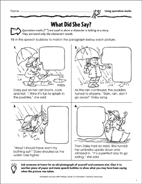 what did she say using quotation marks printable skills sheets