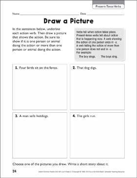 Draw A Picture Present Tense Verbs Printable Skills Sheets