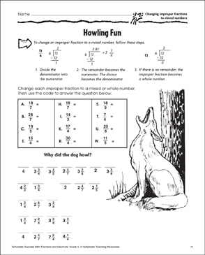howling fun changing improper fractions to mixed numbers  howling fun changing improper fractions to mixed numbers