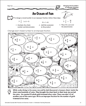 an ocean of fun changing mixed numbers to improper fractions  an ocean of fun changing mixed numbers to improper fractions