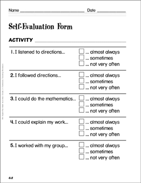 Self Evaluation Form: Assessing Student Math Learning