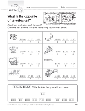 graphic about Riddles Printable named Estimating Costs: Monetary Math Riddles Printable Range