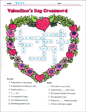 image about Valentines Puzzles Printable called Valentines Crossword and BINGO Printable Crossword