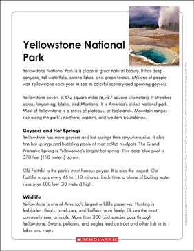 Yellowstone National Park: Text & Organizer | Printable Texts and ...