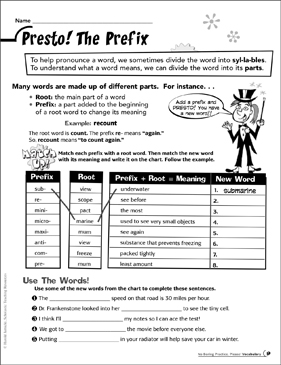 Presto The Prefix Printable Skills Sheets