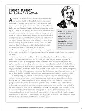 Helen Keller Text Amp Crossword Puzzle Printable