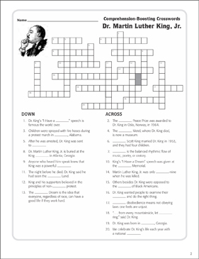 Dr Martin Luther King Jr Text Crossword Puzzle
