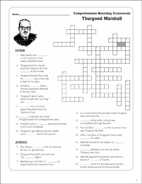 Thurgood Marshall Text Crossword Puzzle