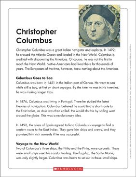 Christopher Columbus: Text & Organizer | Printable Graphic ...