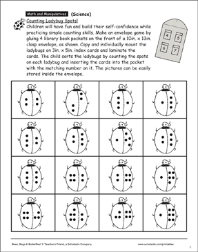 Insects: Counting Ladybug Spots | Printable Skills Sheets
