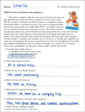 reading comprehension passage and questions summer vacation printable skills sheets. Black Bedroom Furniture Sets. Home Design Ideas