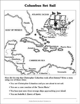 Christopher Columbus Discovery Map | Printable Skills Sheets