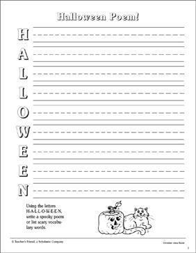 Halloween Poem: Acrostic Poem Template | Printable Skills Sheets