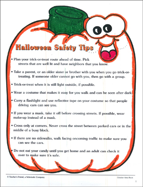halloween safety tips printable classroom management teacher tools and skills sheets - Halloween Safety Printables