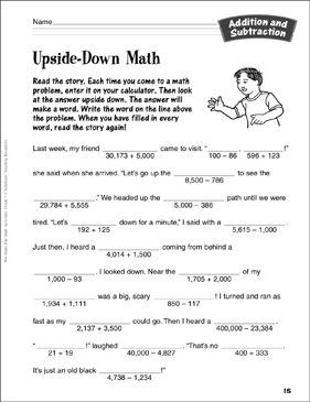 Upside-Down Math: Addition and Subtraction Activity
