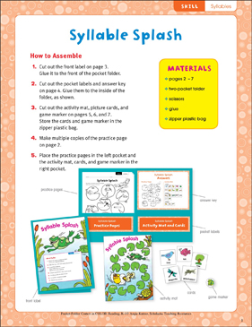 picture about Syllable Games Printable referred to as Syllable Splash (Syllables): Pocket-Folder Middle