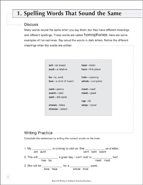 spelling words that sound the same life skills practice writing