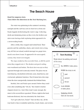 The Beach House: Close Reading Passage | Printable Lesson ...
