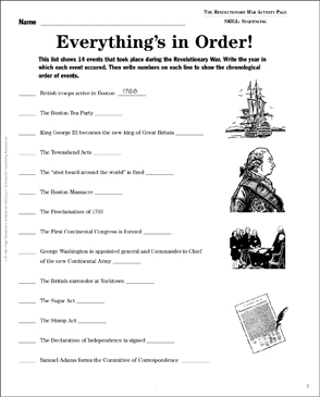 The Revolutionary War Lift The Flap Timeline Printable Lesson