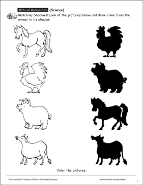 farm animals matching shadows printable skills sheets. Black Bedroom Furniture Sets. Home Design Ideas