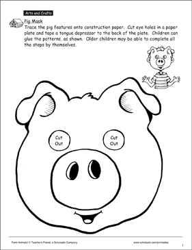 Pig Mask Pattern Printable Arts And Crafts