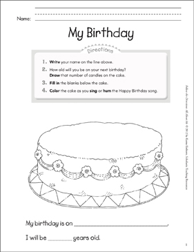 my birthday all about me printable lesson plans ideas and skills sheets. Black Bedroom Furniture Sets. Home Design Ideas
