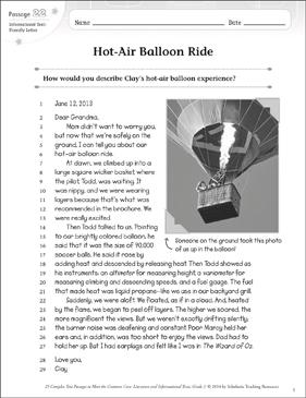 Hot Air Balloon Ride Text Amp Questions Printable Texts