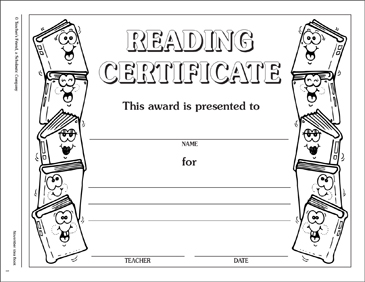 reading certificate incentive award printable awards incentives