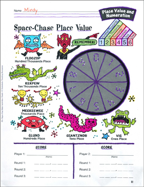 picture about Printable Place Value Game named Spot-Chase Level Well worth Recreation: Location Great importance and Numeration