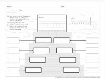 blank template math pyramid puzzle  printable lesson plans ideas  blank template math pyramid puzzle