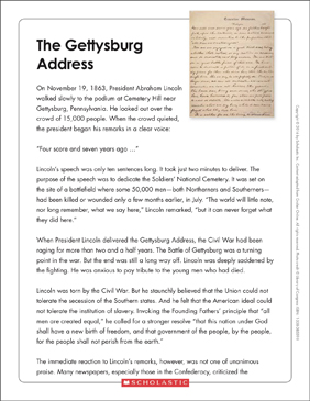 The Gettysburg Address: Text & Organizer | Printable Graphic ...