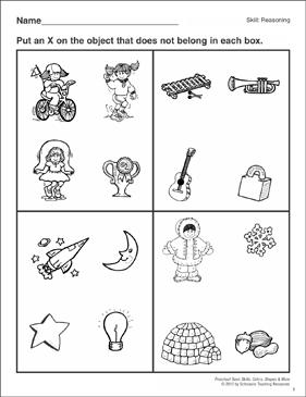 Things That Do Not Belong: Preschool Basic Skills (Reasoning ...