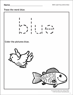 color blue coloring pages   Blue: Preschool Basic Skills (Colors)   Printable Skills ...