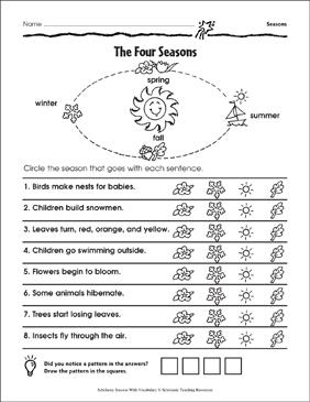 the four seasons printable skills sheets