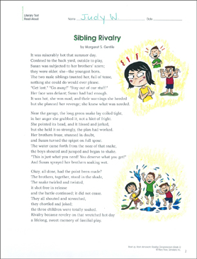 Sibling Rivalry Reading Homework Printable Texts And