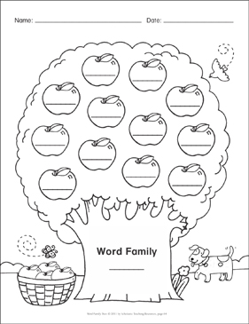 blank template word family tree printable skills sheets