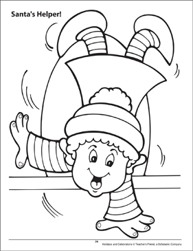 santas helper holidays and celebrations coloring page