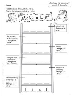 Make A List Short Vowels Consonant Blends Digraphs Word Ladder