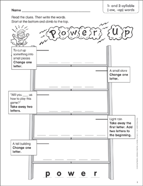 Power Up 1 And 2 Syllable Ow Op Words Word Ladder K